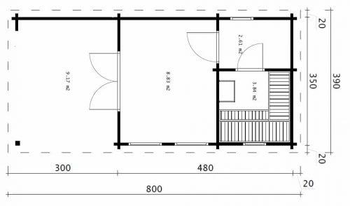 Garten-Saunahaus Lucas 15m² / 70mm / 3,5x8m