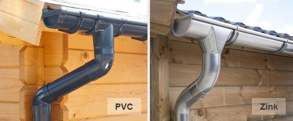 PVC- und Zinkrinnen für Gartenhäuser