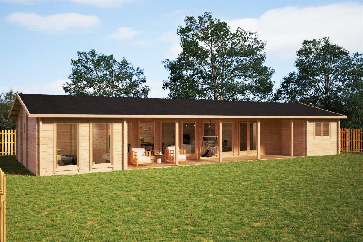 """Blockhaus mit drei Schlafzimmern """"Holiday L"""" 92 mm / 96 m2 / 7x18 m"""