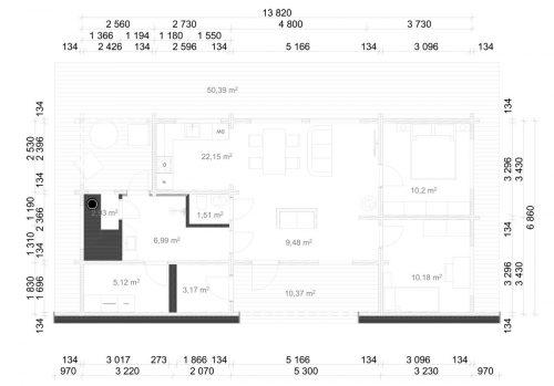 Blockhaus Hansa 71 Gebäudeplan