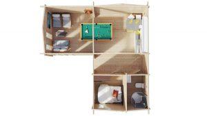 """Eck-Blockhaus mit einem Schlafzimmer """"Devon-1"""" / 40 m2 / 70 mm"""