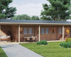 """Blockhaus """"Edward"""" mit zwei Schlafzimmern und großer Veranda 37m2 / 6x13 m / 70 mm"""