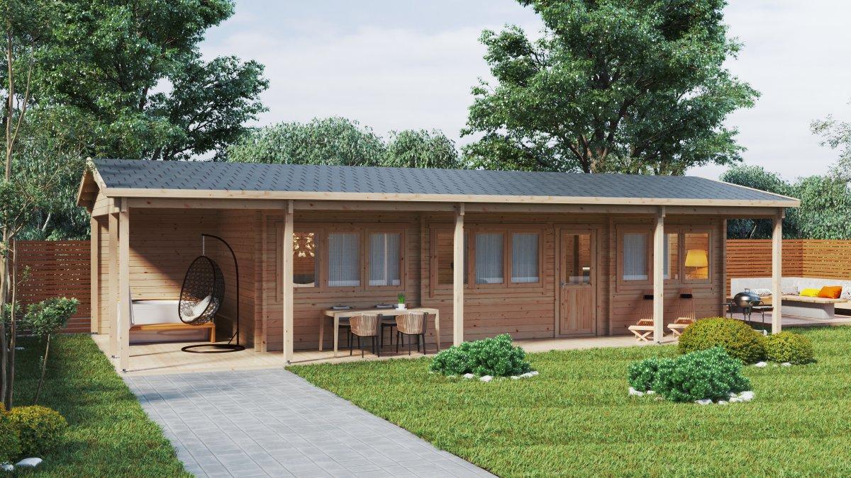 """Blockhaus """"Edward"""" mit zwei Schlafzimmern und großer Veranda 37 m2 / 13 x 6  m / 70mm"""