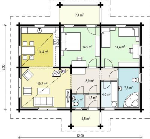 """Wohnblockhaus mit 2 Schlafzimmern """"Hansa 92"""""""