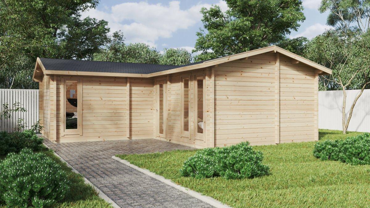 """Eck-Blockhaus mit zwei Schlafzimmern """"Devon-2"""" / 40 m2 / 70 mm"""