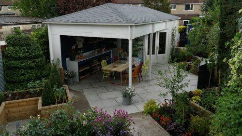 Garten-Holzhaus Sophia als Gartenküche