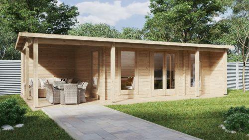"""Gartenhaus mit Terrasse """"Hansa Studio XXL"""" 21 m2 / 5 x 9 m / 70 mm"""