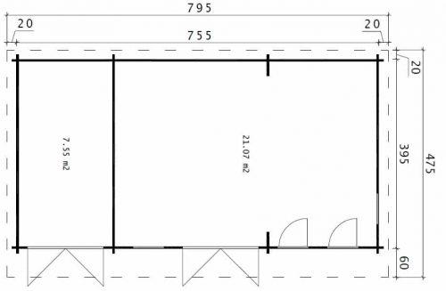 Gartenhaus mit Lagerraum Barbados Plus 28m2 / 44mm / 4x8m