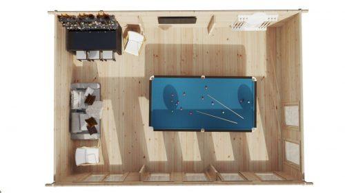 """Holzhaus Garten-Billardraum """"Snooker XL I"""" / 8 x 5,5 m / 43 m2 / 70 mm"""