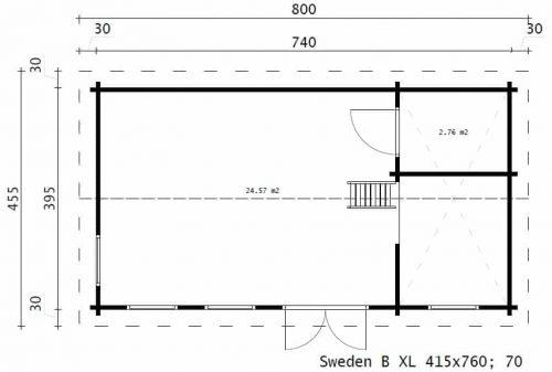 """Holzhaus mit Schlafboden """"Schweden B XL"""" 35m2 / 7x4 m / 70 mm"""