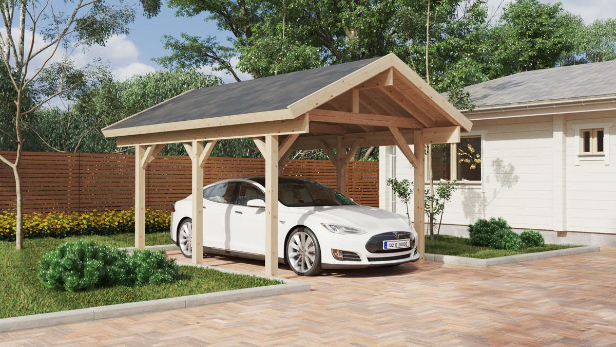 Holz-Carport Henley 5 x 3,7 m