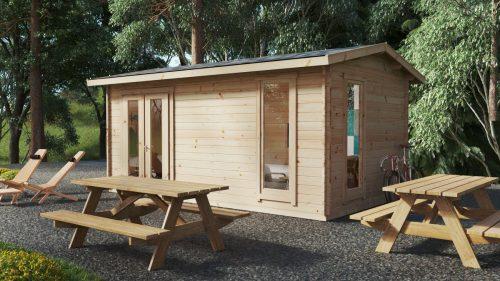"""Holzhaus """"Mia 1"""" mit Duschraum und WC / 5x3 m / 15 m2 / 44 mm"""