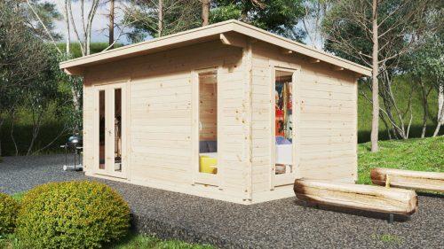 """Holzhaus """"Mia 2"""" mit Duschraum und WC / 5x3 m / 15 m2 / 44 mm"""