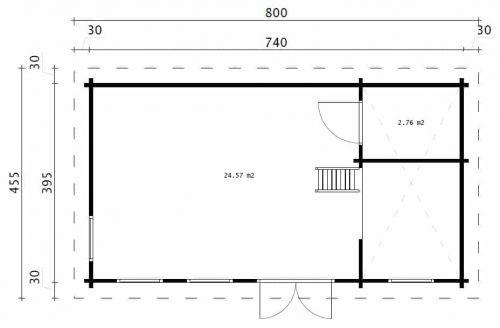 """Gartenhaus mit Schlafboden """"Schweden F"""" 32 m2 / 7x4 m / 70 mm"""