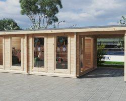 """Großes Gartenhaus mit Premium-Falttür """"David-2"""" / 4x8 m / 19 m2 / 70 mm"""