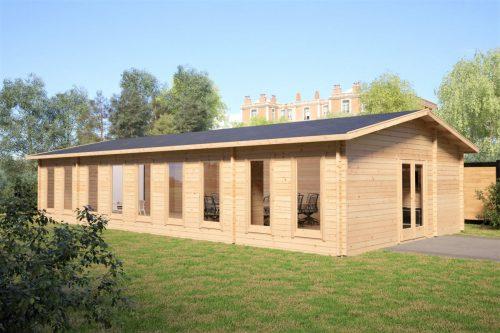 Holzhaus als Klassenraum / Konferenzraum / 14x7 m / 88 mm / 93 m2