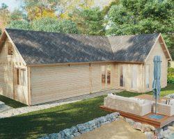 Holzhaus mit zwei Schlafzimmern und Schlafboden Holiday Max 2 / 65 m2 / 12 x 7,5 m / 92 mm
