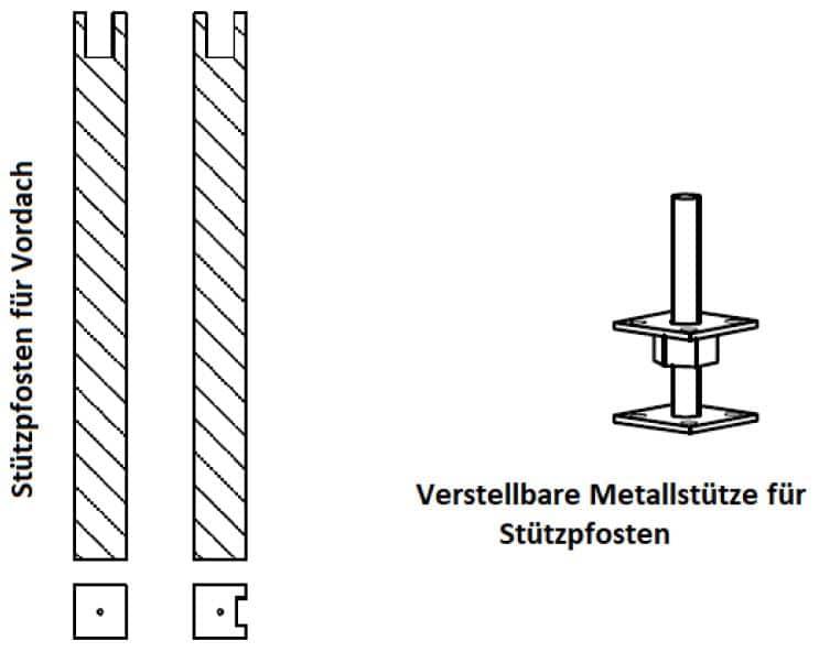 Gartenhaus Montage: Stützpfosten für Vordächer