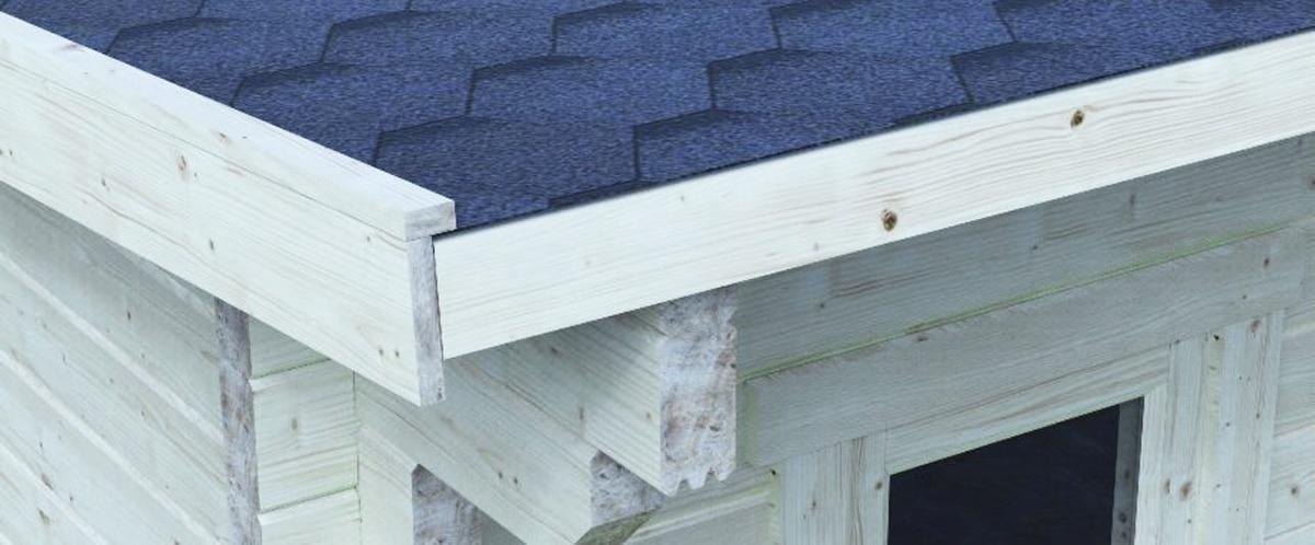 Verlegen Sie die Dachpappe parallel mit dem oberen Traufenbrett