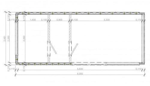 Containerhaus Saunakabine V6 Gebäudeplan