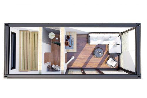 Gebäudeplan Containerhaus Saunakabine V6