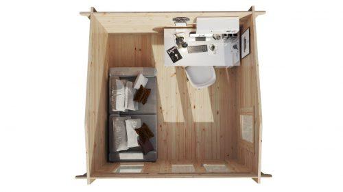 """Gartenhaus aus Holz """"Mini-Gartenbüro 1"""" DS Grundriss"""