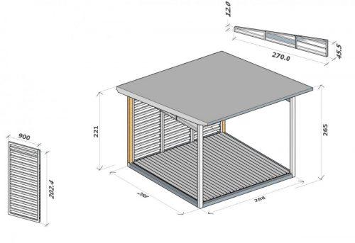 Holzgartenlaube A 3 x 3 m plan