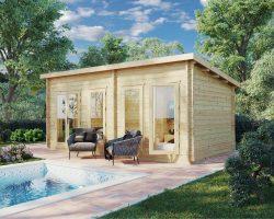 Gartenhaus mit Pultdach Liam DS 16m2 6 x 3 m 44 mm