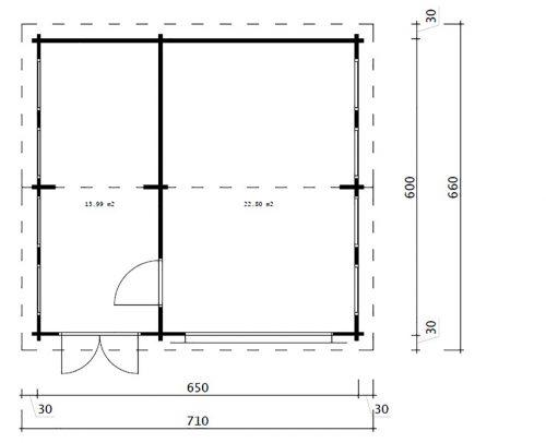 Holzgarage mit Abstellraum / Model Q / 70mm / 6 x 6,5m