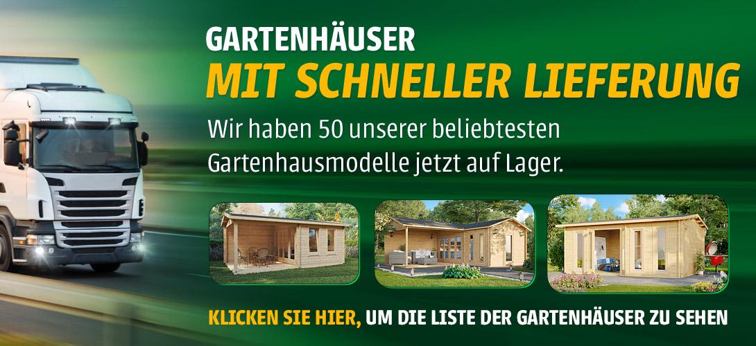 Wir haben 50 unserer beliebtesten Gartenhausmodelle jetzt auf Lager.